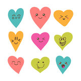 Funny happy smiley hearts. Cute cartoon characters. Bright vector set of heart icons. Creative hand drawn hearts with different emotions. Vector illustration Stock Photos