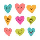 Funny happy smiley hearts. Cute cartoon characters. Stock Photos