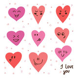 Funny happy smiley hearts. Cute cartoon characters. Stock Photo