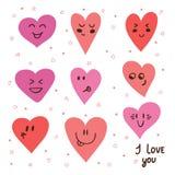 Funny happy smiley hearts. Cute cartoon characters. Stock Photo