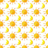 Funny happy smiling suns and moons. Bright beautiful cartoon pattern.  Stock Image
