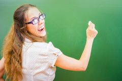 Funny and happy teacher or student at university or school Stock Photos