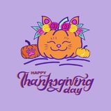 Funny Happy Thanksgiving card with pumpkin cat and hand drawn lettering. Stock Images