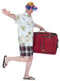 Funny Happy Tourist Travel Vacation Holiday Isolated. A fun and funny tourist who likes to travel. The man is on vacation and has his bags packed and is ready to Stock Images