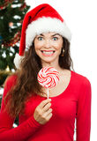 Funny happy woman holding lollipop Stock Photos