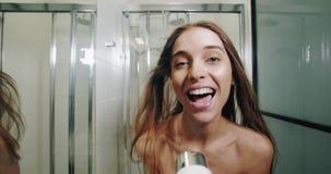 Fun in bathroom stock video