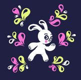 Funny hare. Drawing with the floral elements Stock Photos