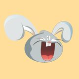 Funny hare head screaming. Cartoon vector design Stock Images