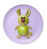 Funny hare made of green apple Royalty Free Stock Photo