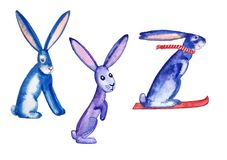 Funny hares depict the letters XYZ. Funny alphabet unusual letters XYZ in the form of bright blue hares watercolor painting for cards, posters, children`s Royalty Free Stock Image