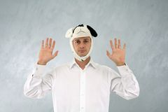 Funny hat. Man in white shirt with funny hat Royalty Free Stock Image