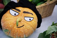 Funny head from a pumpkin. stock image