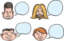 Funny Heads with Speech Bubbles Stock Photos