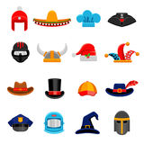 Funny Headwear Flat Icons Set Royalty Free Stock Image