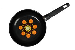 Funny healthy vegetables on a frying pan Stock Image