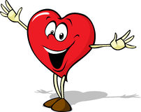 Funny heart cartoon standing with open arms Stock Images