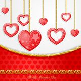 Funny heart with golden chains card. Funny hearts with golden chains card on beautiful background stock illustration