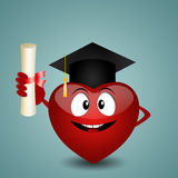 Funny heart graduate Royalty Free Stock Image