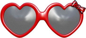 Funny Heart Shape Sunglasses Isolated Stock Image