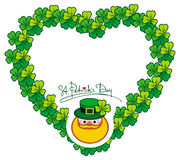 Funny heart-shaped frame with shamrock and leprechaun. Raster cl Stock Photos