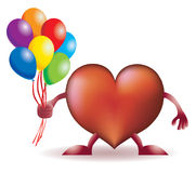 Funny heart stands with baloons Royalty Free Stock Images