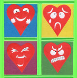Funny hearts paper cutout Royalty Free Stock Image