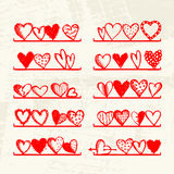 Funny hearts on shelves, sketch drawing Stock Photo
