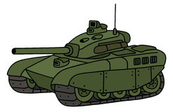 Funny heavy tank. Hand drawing of a funny green heavy tank vector illustration