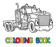 Funny heavy truck with eyes. Coloring book Stock Photography