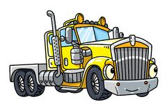 Funny heavy truck with eyes. Heavy truck. Funny vector cute car with eyes and mouth. Children vector illustration Stock Photography