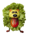 Funny hedgehog made of pepper and salad Royalty Free Stock Image
