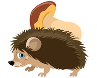 Funny hedgehog with mushroom Royalty Free Stock Images