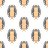Funny hedgehog sketch, in color, seamless 1-3. Funny hedgehog sketch, in color, seamless pattern Royalty Free Stock Image