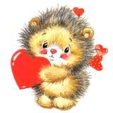 Funny hedgehogcute pets watercolor illustration vector illustration