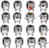 Funny hedgehogs (1). 16 smiley hedgehogs individually grouped for easy copy-n-paste. Vector Stock Photography
