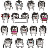 Funny hedgehogs (3). 18 smiley hedgehogs individually grouped for easy copy-n-paste. Vector Royalty Free Stock Photos