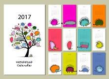 Funny hedgehogs, calendar 2017 design. Vector illustration Royalty Free Illustration