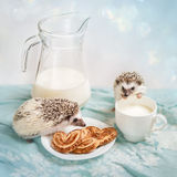 Funny hedgehogs near a mug of milk. And a cookie in saucer Royalty Free Stock Photo