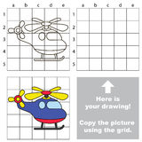 Funny Helicopter. Copy the image using grid. Stock Photos