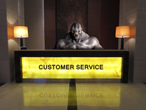 Funny Help Desk Customer Service. Scene of a fun and funny help desk or customer service kiosk. A troll, monster, or beast is taking complaints and helping stock image