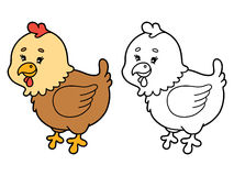 Funny hen cartoon . Royalty Free Stock Images