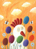 Funny hen and Easter eggs. Acrylic illustration of Funny hen and Easter eggs Royalty Free Stock Images