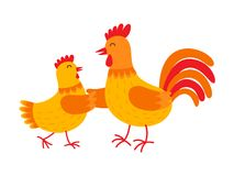 Funny hen and rooster are dancing vector flat illustration isolated on white background. Cute orange hen and rooster Stock Image