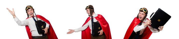 The funny here with briefcase isolated on the white Royalty Free Stock Photos