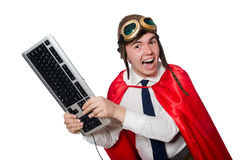 Funny hero with keyboard Stock Images