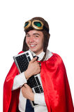 Funny hero with keyboard Royalty Free Stock Photography