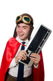 Funny hero with keyboard Stock Photo