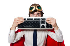 Funny hero with keyboard Stock Photos