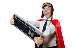 Funny hero with keyboard Stock Photography