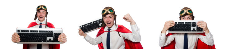 The funny hero with keyboard isolated on the white Royalty Free Stock Photography